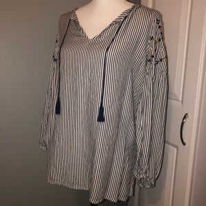 Striped floral long sleeve blouse